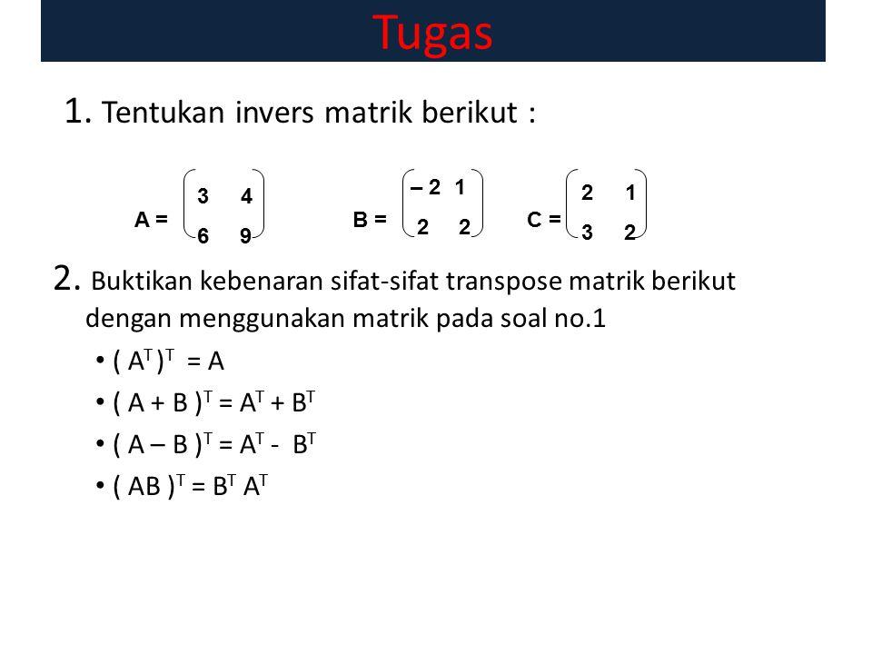 Tugas 1. Tentukan invers matrik berikut :