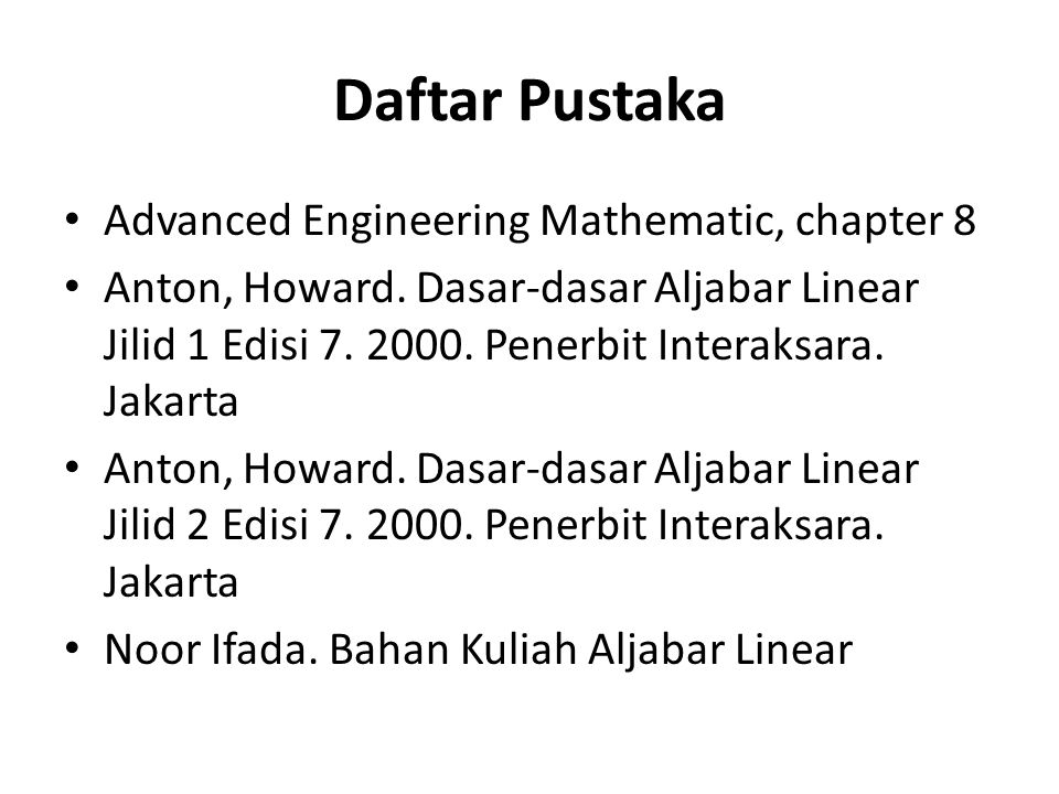 Daftar Pustaka Advanced Engineering Mathematic, chapter 8