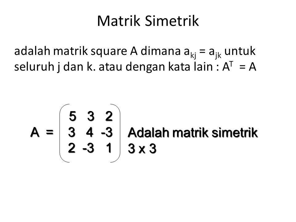 Matrik Simetrik adalah matrik square A dimana akj = ajk untuk seluruh j dan k. atau dengan kata lain : AT = A.