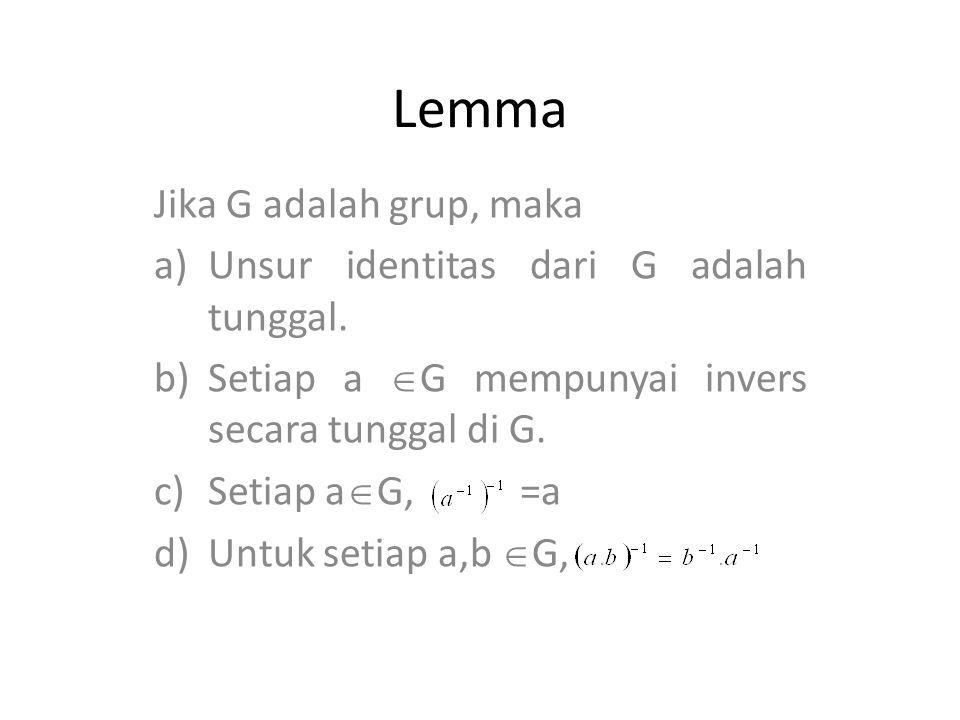 Lemma Jika G adalah grup, maka Unsur identitas dari G adalah tunggal.