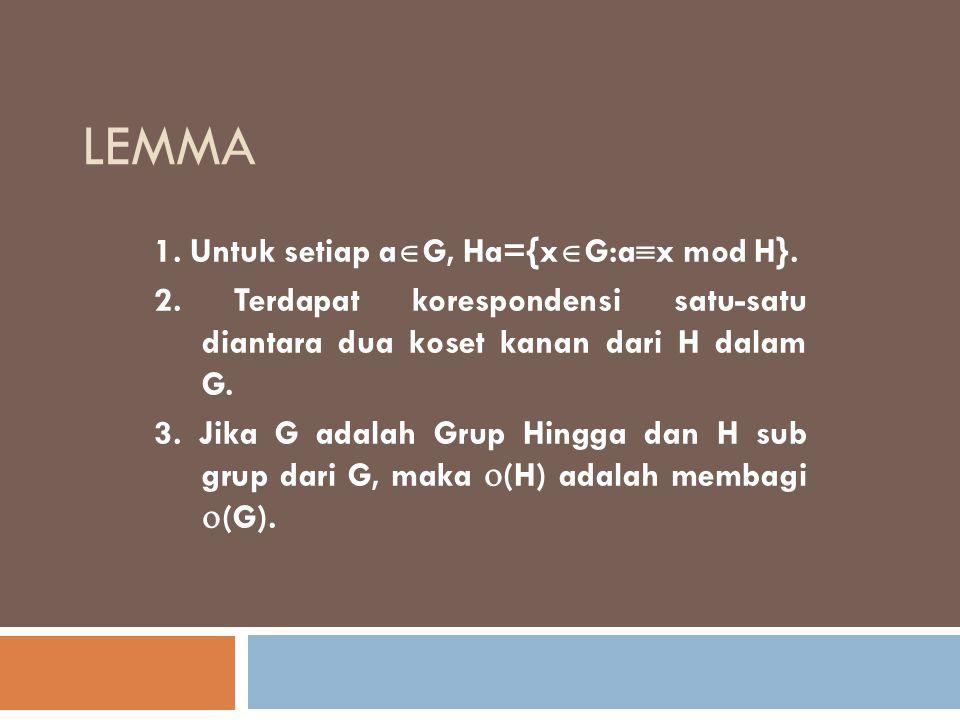 lemma 1. Untuk setiap aG, Ha={xG:ax mod H}.