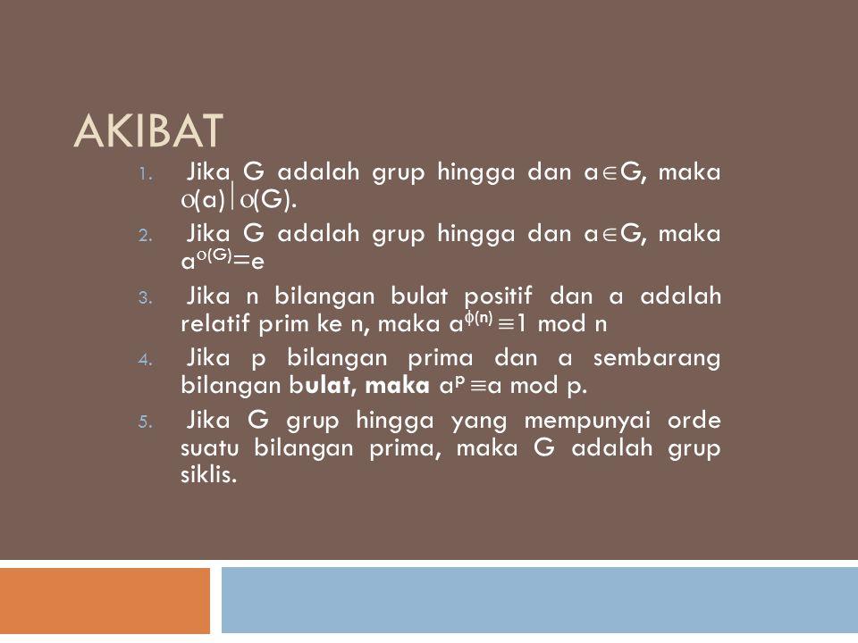 akibat Jika G adalah grup hingga dan aG, maka (a)(G).