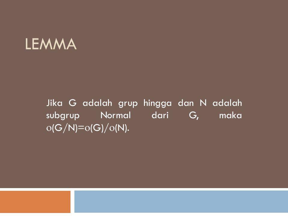 lemma Jika G adalah grup hingga dan N adalah subgrup Normal dari G, maka (G/N)=(G)/(N).