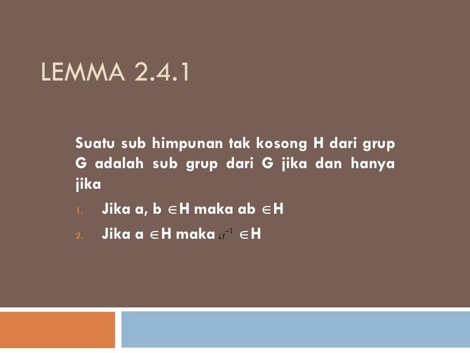 Lemma 2.4.1 Suatu sub himpunan tak kosong H dari grup G adalah sub grup dari G jika dan hanya jika.