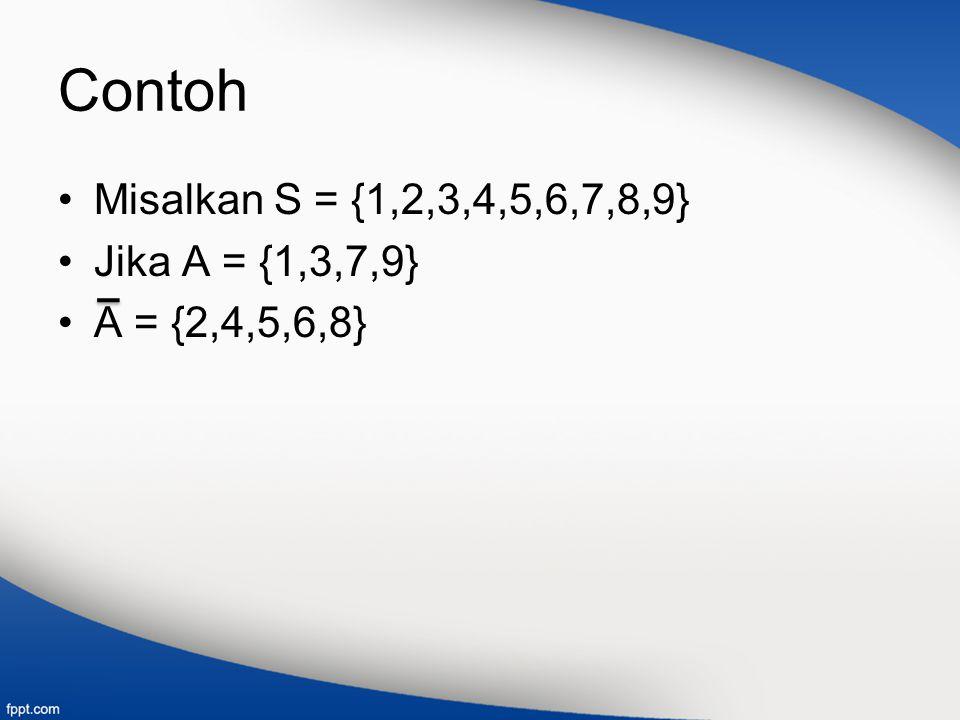 Contoh Misalkan S = {1,2,3,4,5,6,7,8,9} Jika A = {1,3,7,9}