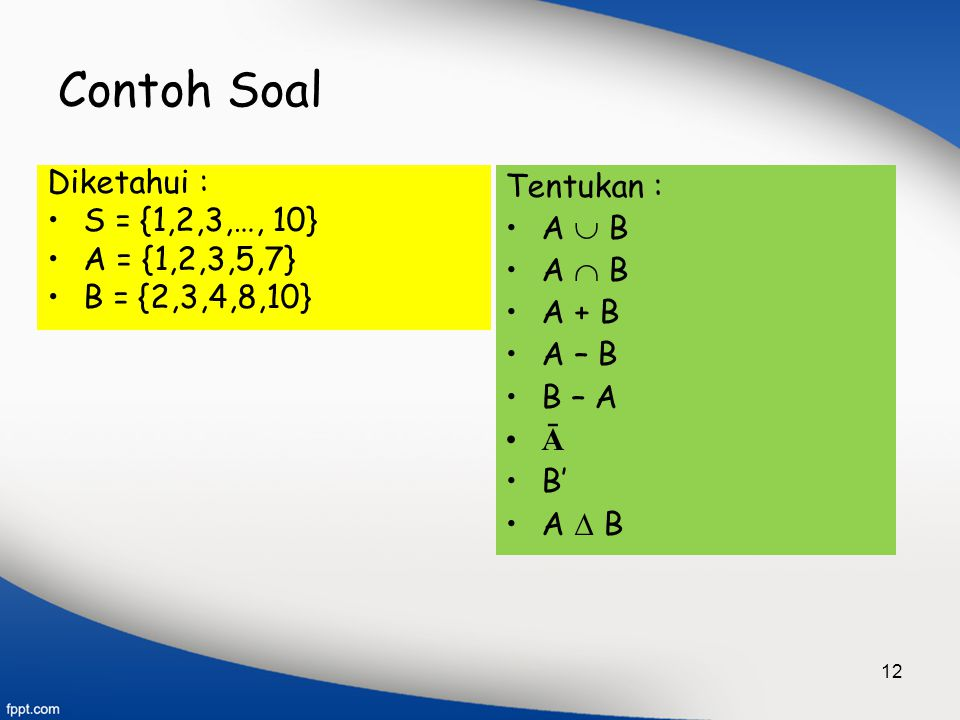Contoh Soal Diketahui : S = {1,2,3,…, 10} A = {1,2,3,5,7}