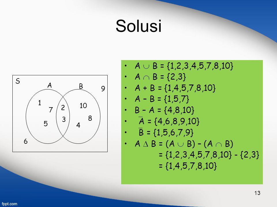 Solusi A  B = {1,2,3,4,5,7,8,10} A  B = {2,3} A + B = {1,4,5,7,8,10}