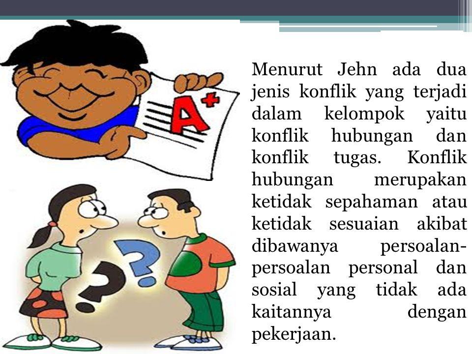 Menurut Jehn ada dua jenis konflik yang terjadi dalam kelompok yaitu konflik hubungan dan konflik tugas.