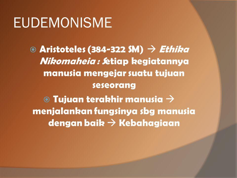 EUDEMONISME Aristoteles (384-322 SM)  Ethika Nikomaheia : Setiap kegiatannya manusia mengejar suatu tujuan seseorang.