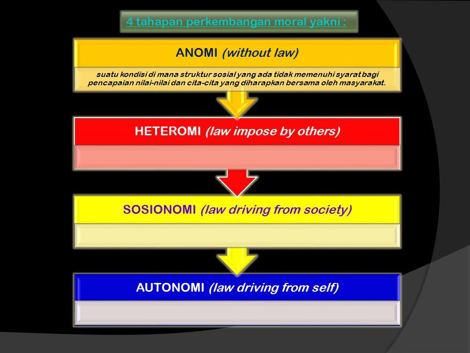 4 tahapan perkembangan moral yakni :