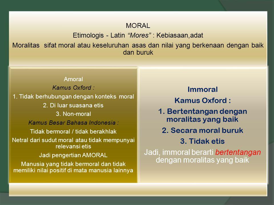 1. Bertentangan dengan moralitas yang baik