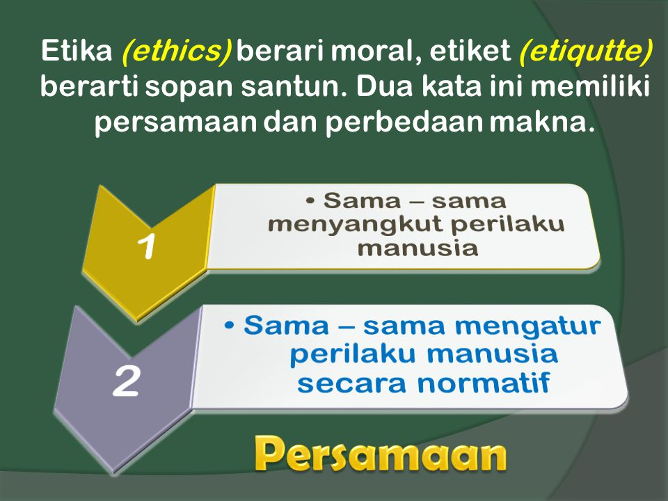 Etika (ethics) berari moral, etiket (etiqutte) berarti sopan santun