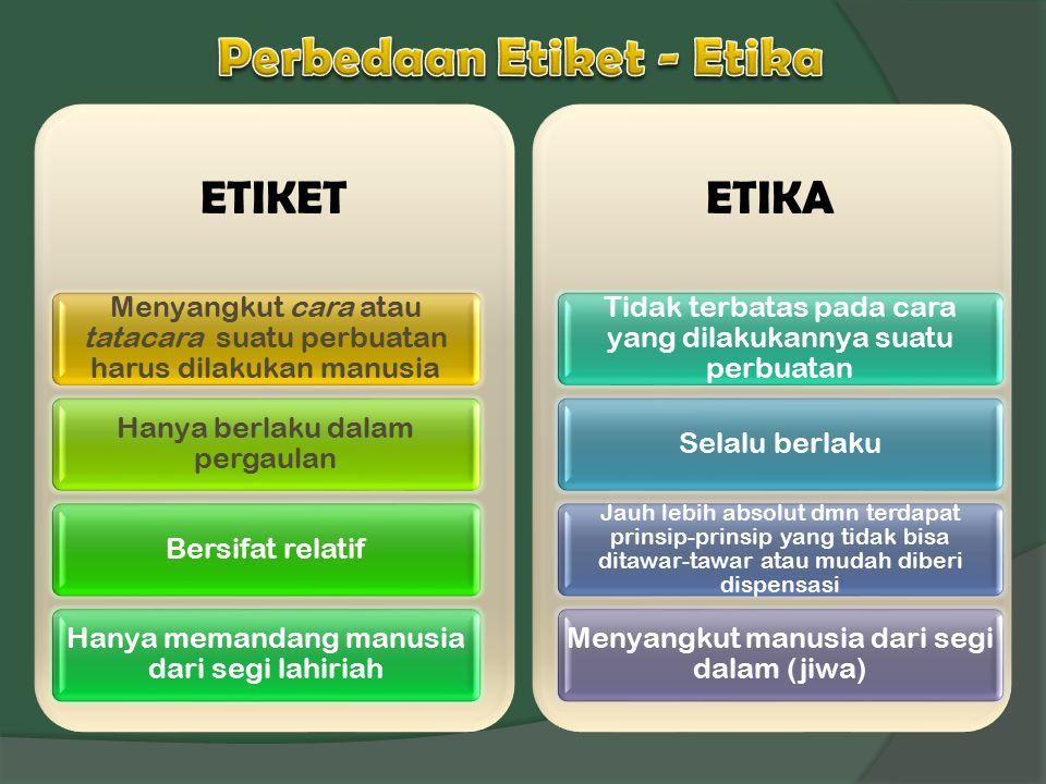 Perbedaan Etiket - Etika