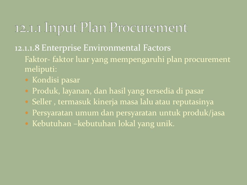 12.1.1 Input Plan Procurement