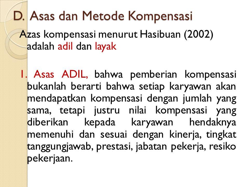 D. Asas dan Metode Kompensasi