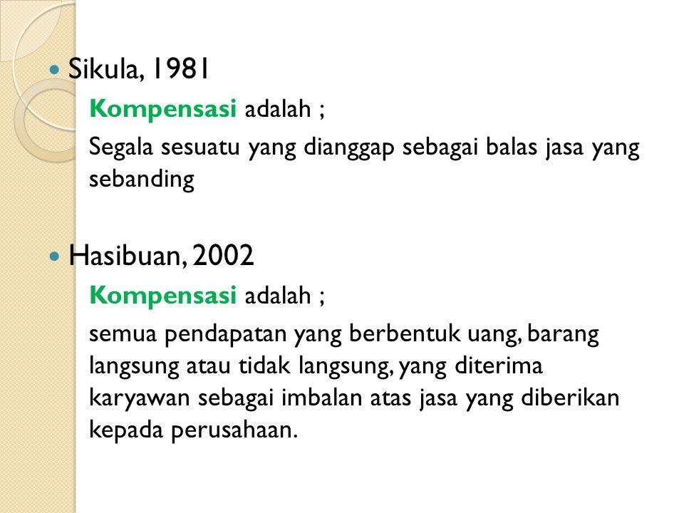 Sikula, 1981 Hasibuan, 2002 Kompensasi adalah ;