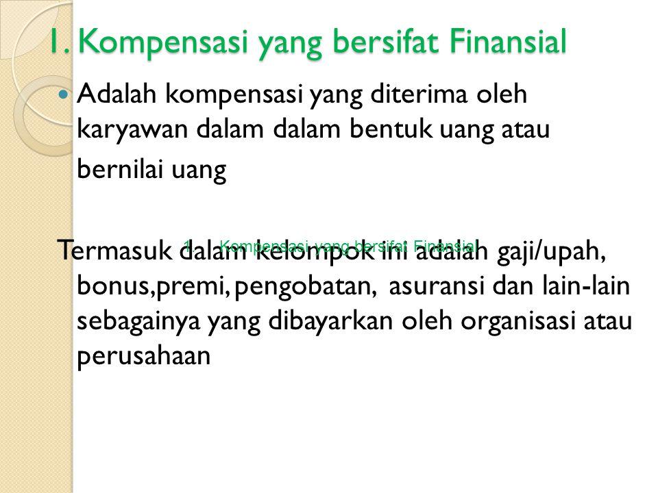 1. Kompensasi yang bersifat Finansial