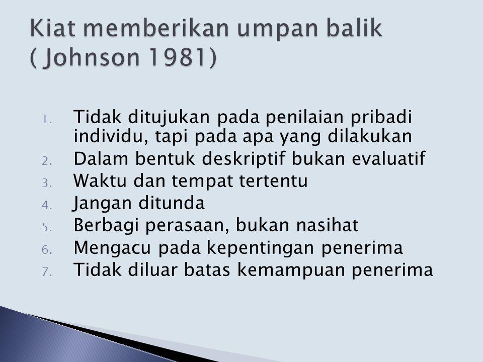 Kiat memberikan umpan balik ( Johnson 1981)