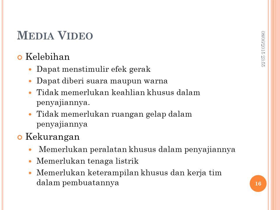 Media Video Kelebihan Kekurangan Dapat menstimulir efek gerak