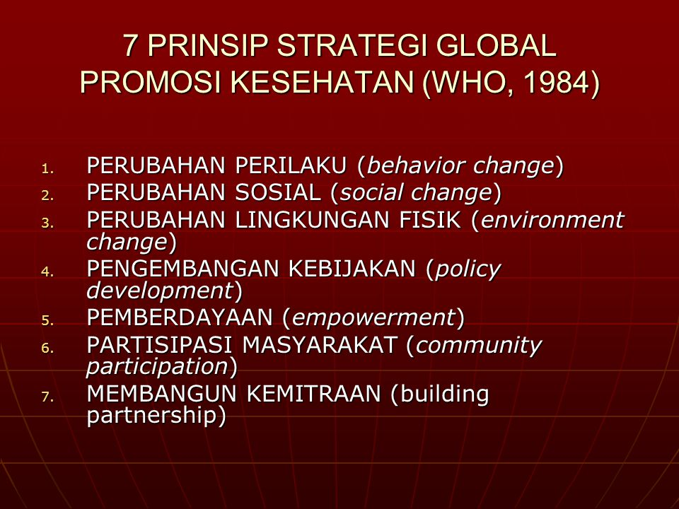 7 PRINSIP STRATEGI GLOBAL PROMOSI KESEHATAN (WHO, 1984)