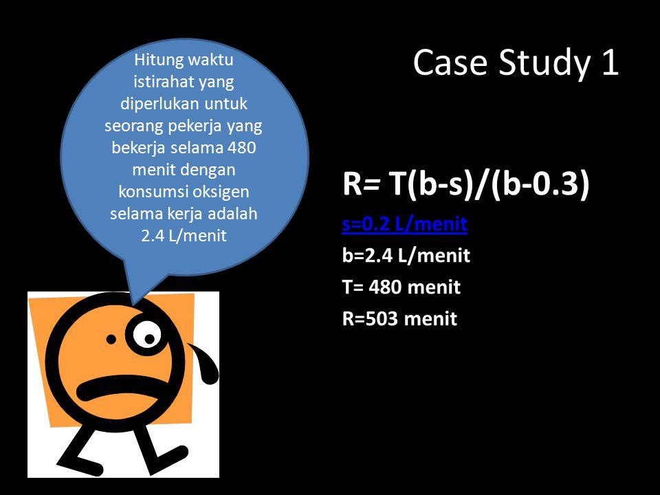 Case Study 1 R= T(b-s)/(b-0.3) s=0.2 L/menit b=2.4 L/menit