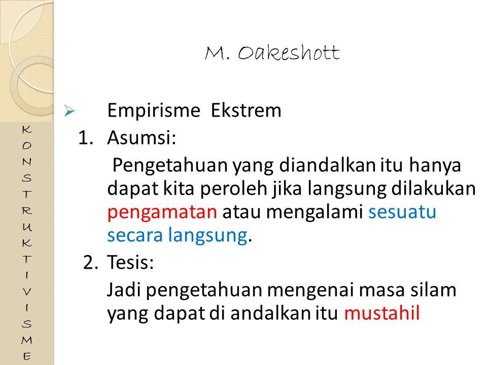 M. Oakeshott Empirisme Ekstrem 1. Asumsi: