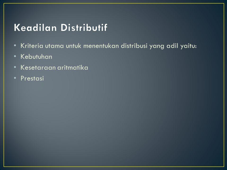 Keadilan Distributif Kriteria utama untuk menentukan distribusi yang adil yaitu: Kebutuhan. Kesetaraan aritmatika.