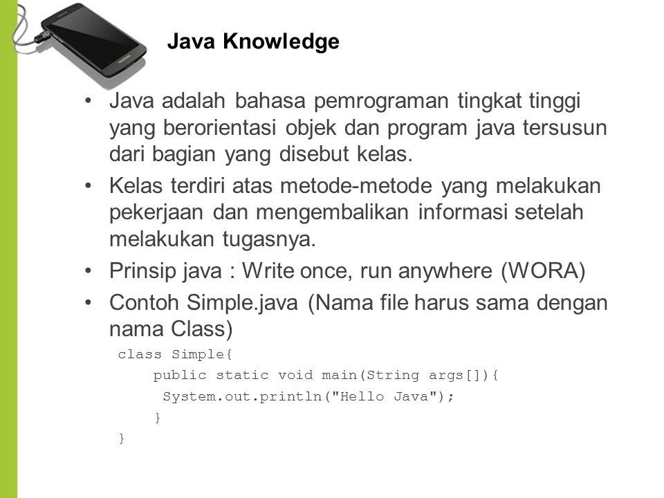 Prinsip java : Write once, run anywhere (WORA)