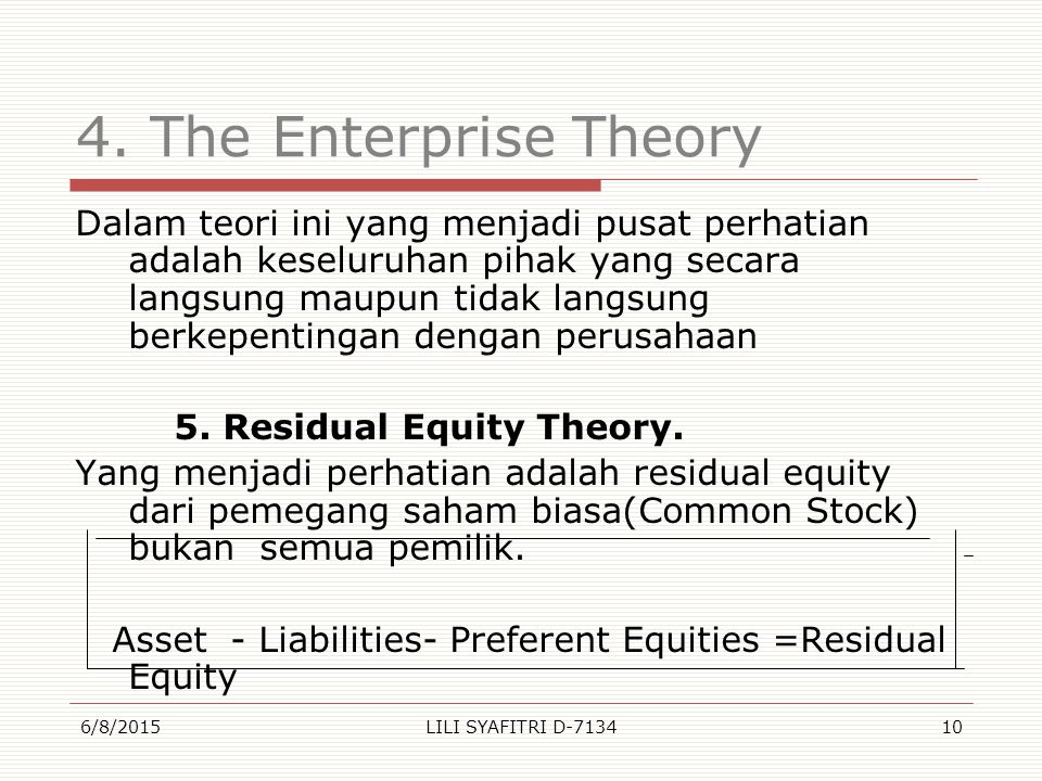 4. The Enterprise Theory