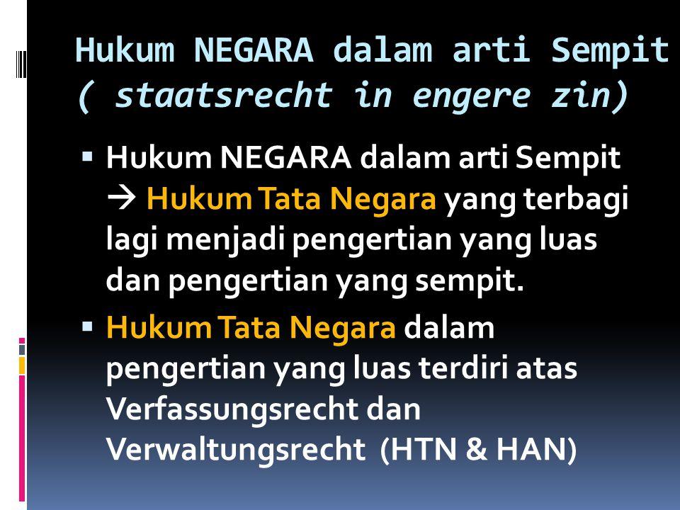 Hukum NEGARA dalam arti Sempit ( staatsrecht in engere zin)