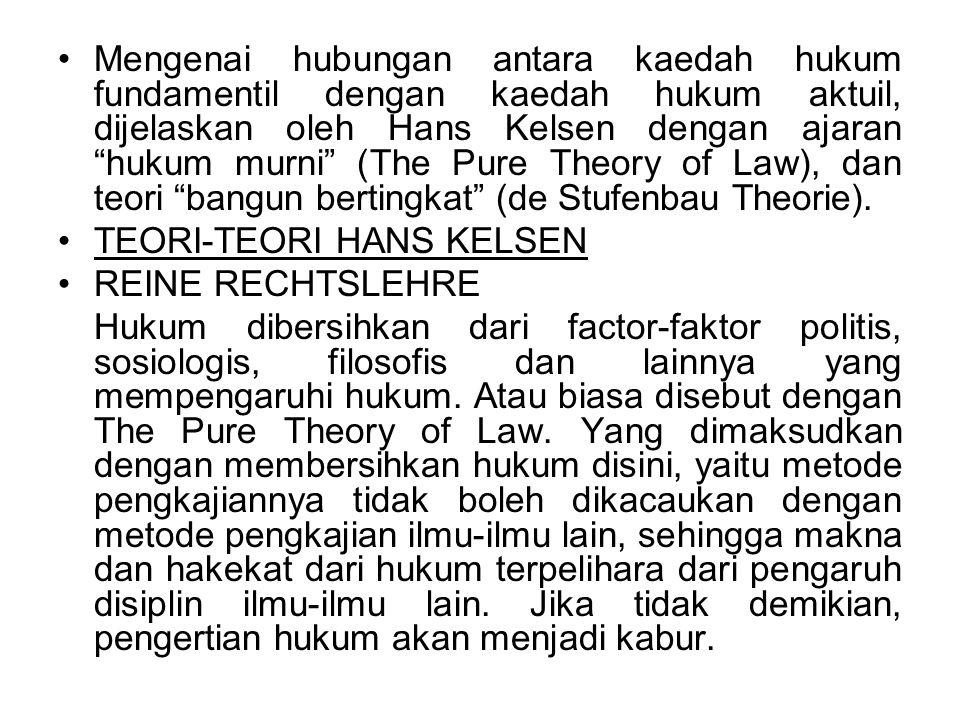 Mengenai hubungan antara kaedah hukum fundamentil dengan kaedah hukum aktuil, dijelaskan oleh Hans Kelsen dengan ajaran hukum murni (The Pure Theory of Law), dan teori bangun bertingkat (de Stufenbau Theorie).