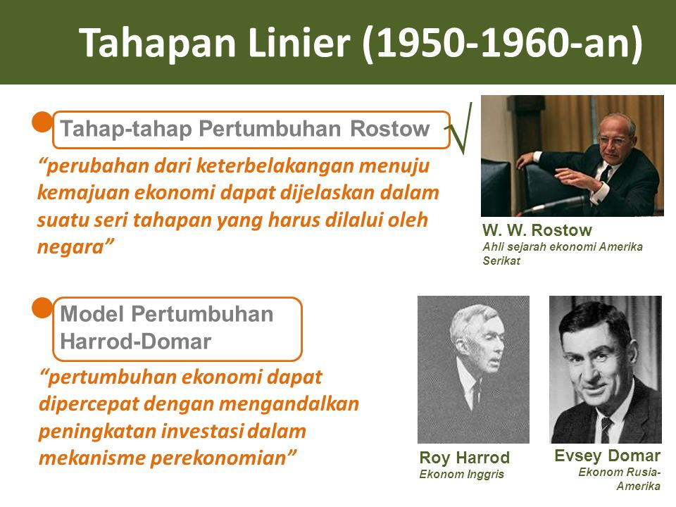 √ Tahapan Linier (1950-1960-an) Tahap-tahap Pertumbuhan Rostow