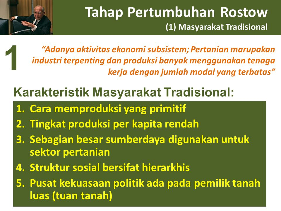 Tahap Pertumbuhan Rostow (1) Masyarakat Tradisional