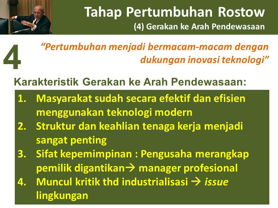 Tahap Pertumbuhan Rostow (4) Gerakan ke Arah Pendewasaan
