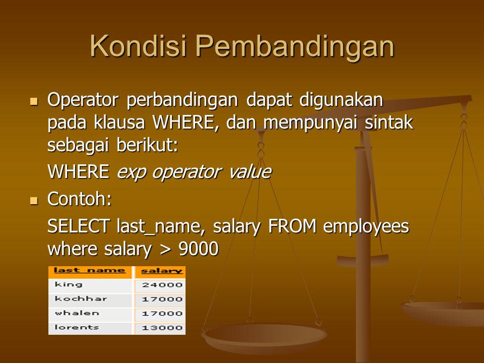 Kondisi Pembandingan Operator perbandingan dapat digunakan pada klausa WHERE, dan mempunyai sintak sebagai berikut:
