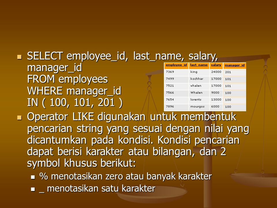 SELECT employee_id, last_name, salary, manager_id FROM employees WHERE manager_id IN ( 100, 101, 201 )