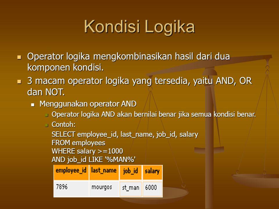 Kondisi Logika Operator logika mengkombinasikan hasil dari dua komponen kondisi. 3 macam operator logika yang tersedia, yaitu AND, OR dan NOT.