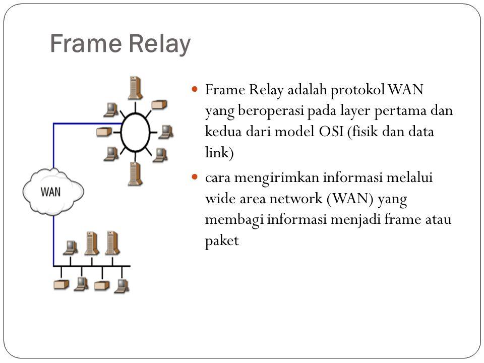 Frame Relay Frame Relay adalah protokol WAN yang beroperasi pada layer pertama dan kedua dari model OSI (fisik dan data link)