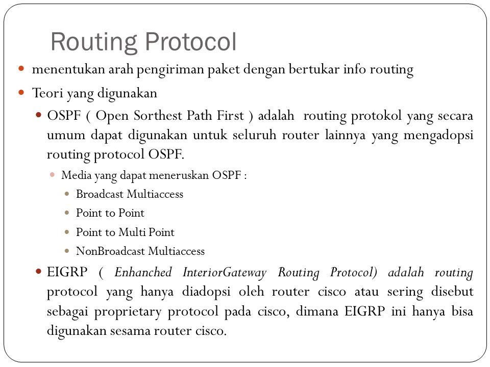 Routing Protocol menentukan arah pengiriman paket dengan bertukar info routing. Teori yang digunakan.