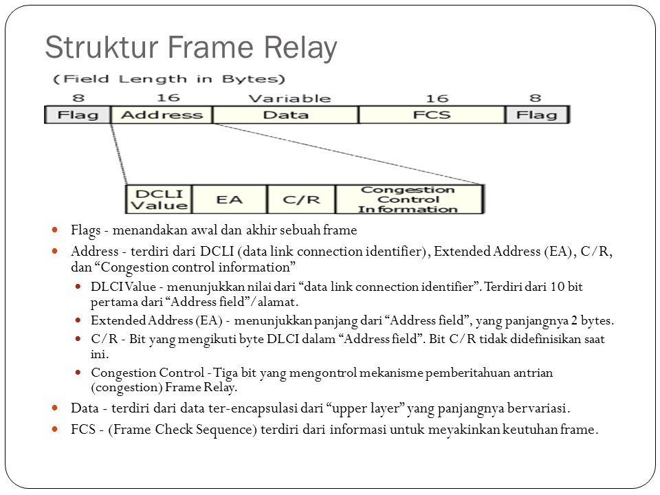 Struktur Frame Relay Flags - menandakan awal dan akhir sebuah frame