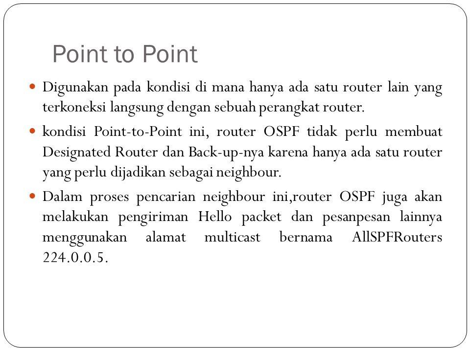 Point to Point Digunakan pada kondisi di mana hanya ada satu router lain yang terkoneksi langsung dengan sebuah perangkat router.