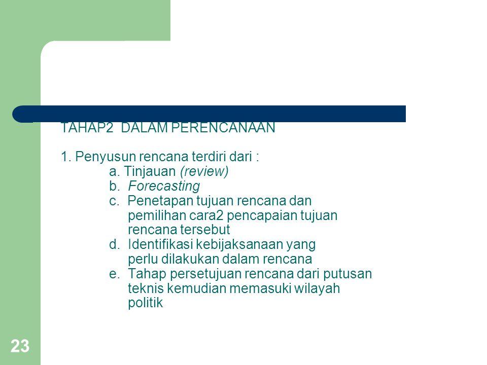 TAHAP2 DALAM PERENCANAAN 1. Penyusun rencana terdiri dari :. a