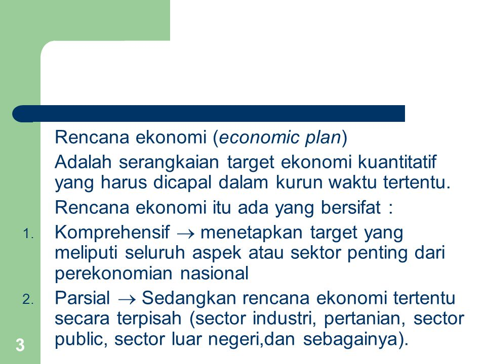 Rencana ekonomi (economic plan)
