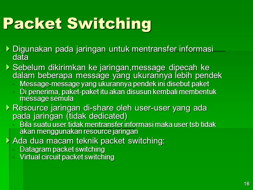 Packet Switching Digunakan pada jaringan untuk mentransfer informasi data.