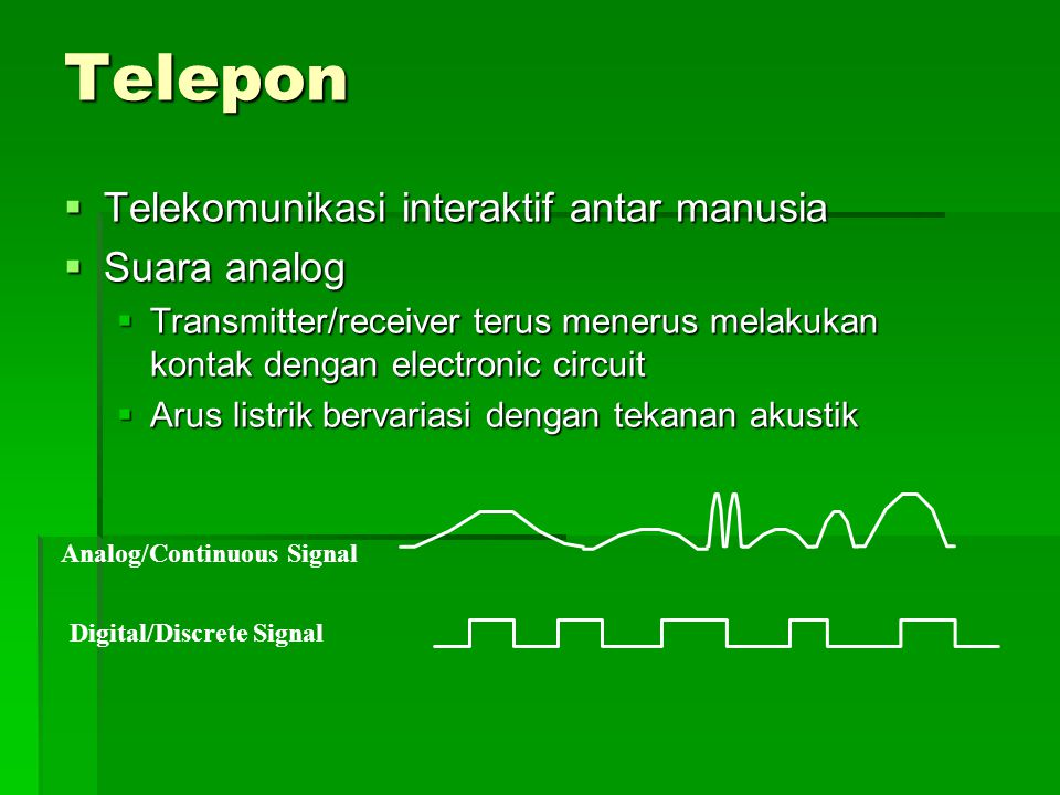 Telepon Telekomunikasi interaktif antar manusia Suara analog
