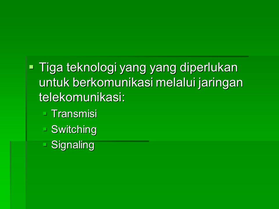 Tiga teknologi yang yang diperlukan untuk berkomunikasi melalui jaringan telekomunikasi: