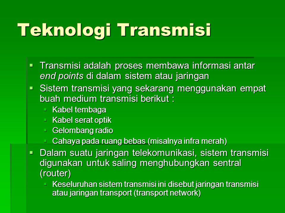 Teknologi Transmisi Transmisi adalah proses membawa informasi antar end points di dalam sistem atau jaringan.