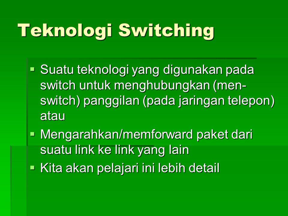 Teknologi Switching Suatu teknologi yang digunakan pada switch untuk menghubungkan (men-switch) panggilan (pada jaringan telepon) atau.