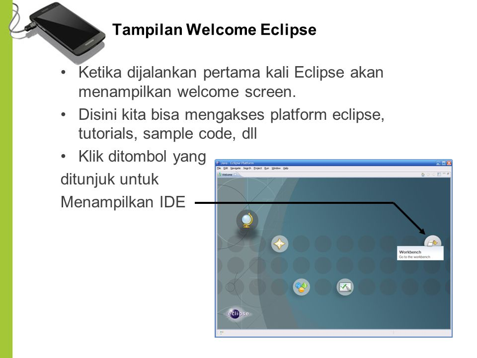 Tampilan Welcome Eclipse