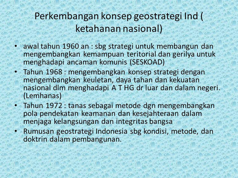 Perkembangan konsep geostrategi Ind ( ketahanan nasional)